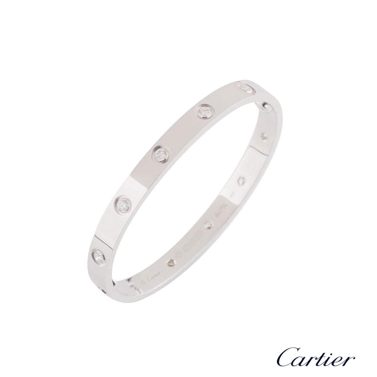 Cartier White Gold Full Diamond Love Bracelet Size 21B6040721